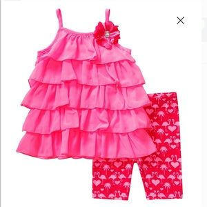 Youngland Hot Pink Ruffled Flamingo Shorts Outfit